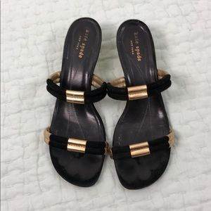 Kate Spade black and gold sandals